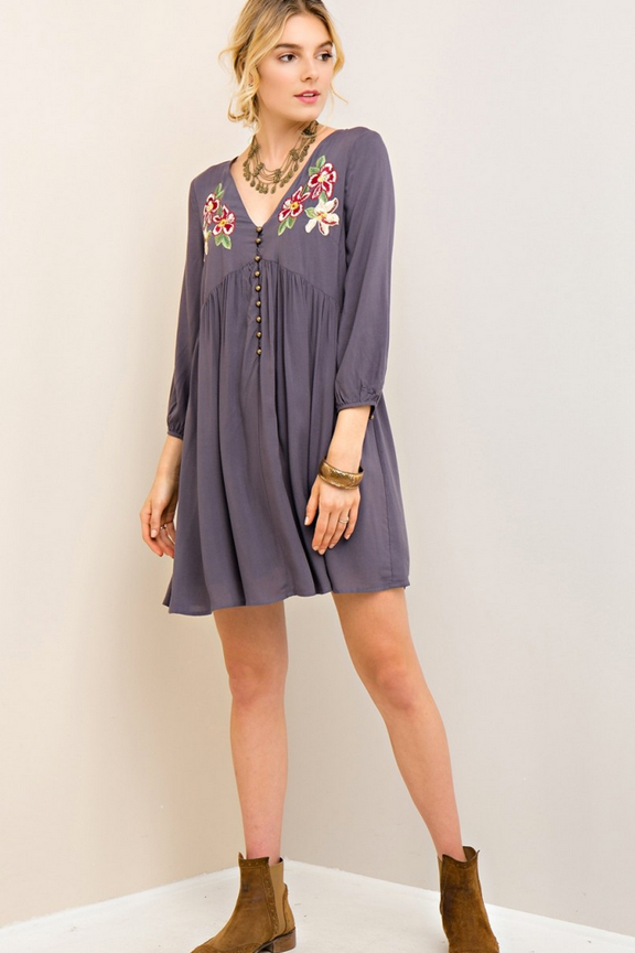 Button Down Baby Doll Dress