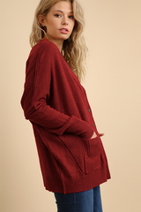 Garnet Button Up Cardigan Sweater