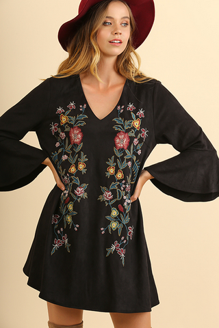 Suede Bell Sleeve Dress with Embroidery