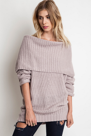 Oversized Ribbed Fold Over Sweater