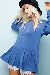 Denim Blue Ruffle Top