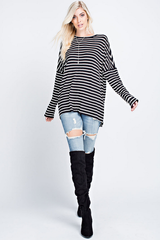 Casual Oversized Striped Tunic Top