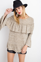 Hacci Knit Ruffle Top