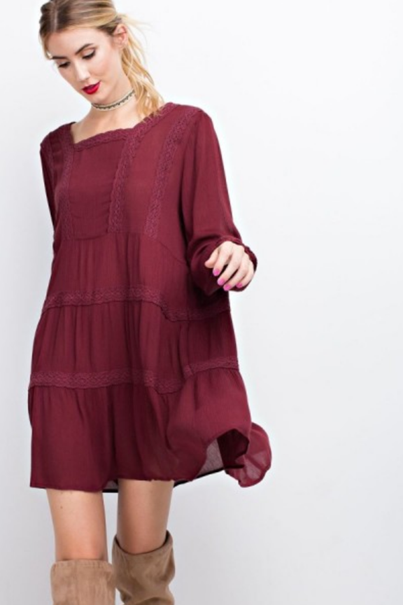 Gauze Babydoll Dress with Crochet Detail