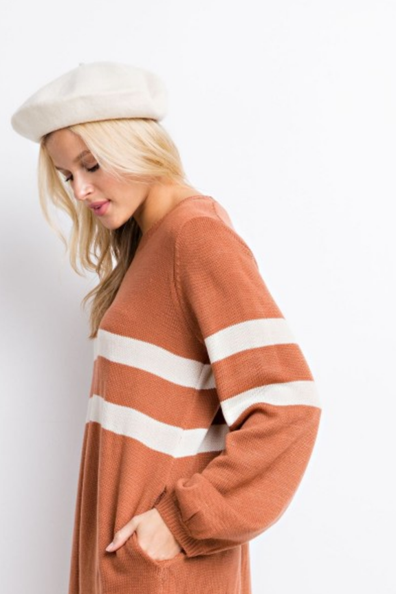 Pocketed Knit Striped Sweater Dress