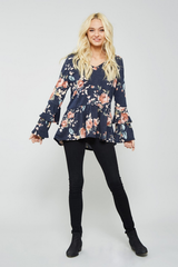 Denim Blue Ruffled Floral Top