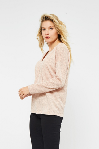 Two Tone Button Down V-neck Top
