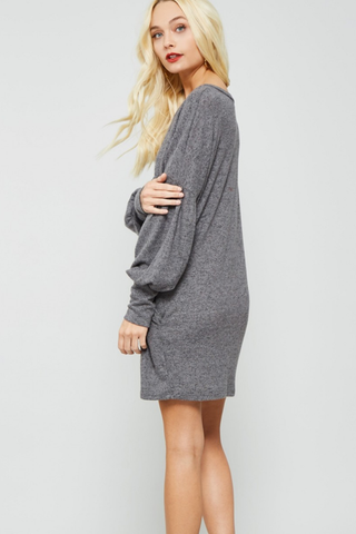 Puff Sleeve Lightweight Sweater Dress