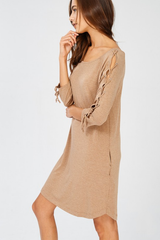 Lace Up Sleeve Pocketed Dress