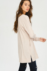Oatmeal Long Sleeve Pocketed Tunic
