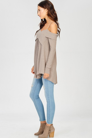 Mocha Cross Front Off Shoulder Top