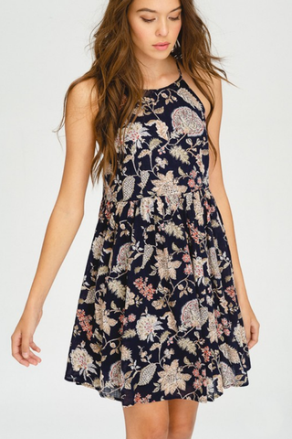 Floral Print Halter Swing Dress