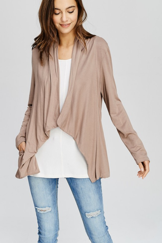 Front Draped Lightweight Cardigan