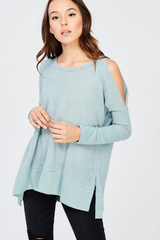 Cold Shoulder Crew Neck Top