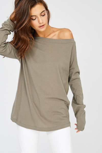 Light Olive Boat Neck Tunic Top