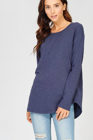 Cotton Slub Long Sleeve Crew Neck Top