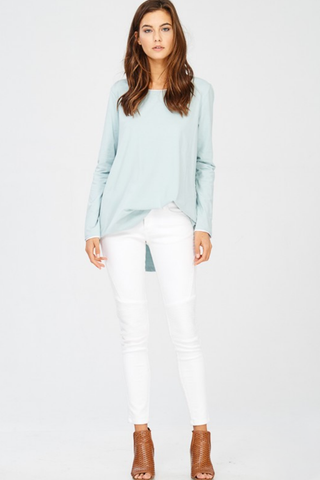 Mint Stretch Cotton Contrast Edged Tee