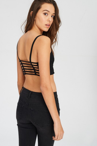Soft Black Caged Back Bralette
