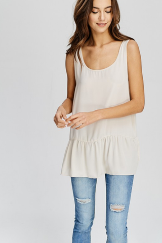Lightweight Scoop Neck Ruffled Tank