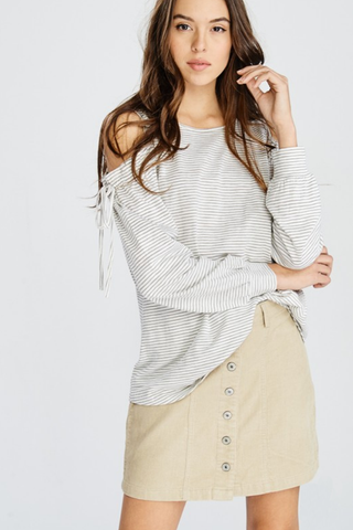Button Front Corduroy Skirt - 2 Colors