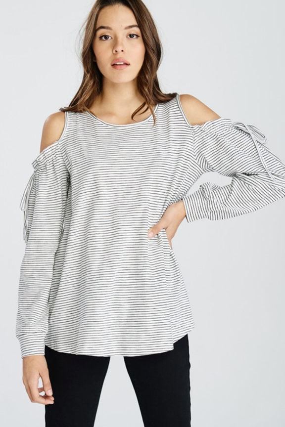 fe98694100293 Striped Cold Shoulder Tie Sleeve Top - 2 Colors – Thistle   Finn