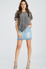Charcoal Gray Stretch Velvet Tee