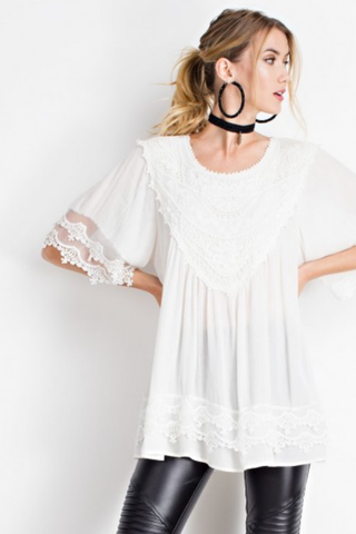 Delicate Crochet Tunic Top