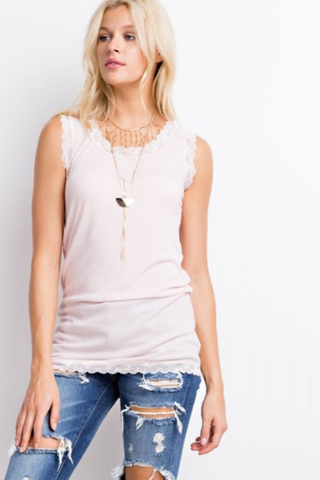 Lace Detailed Soft Tank - 3 Colors
