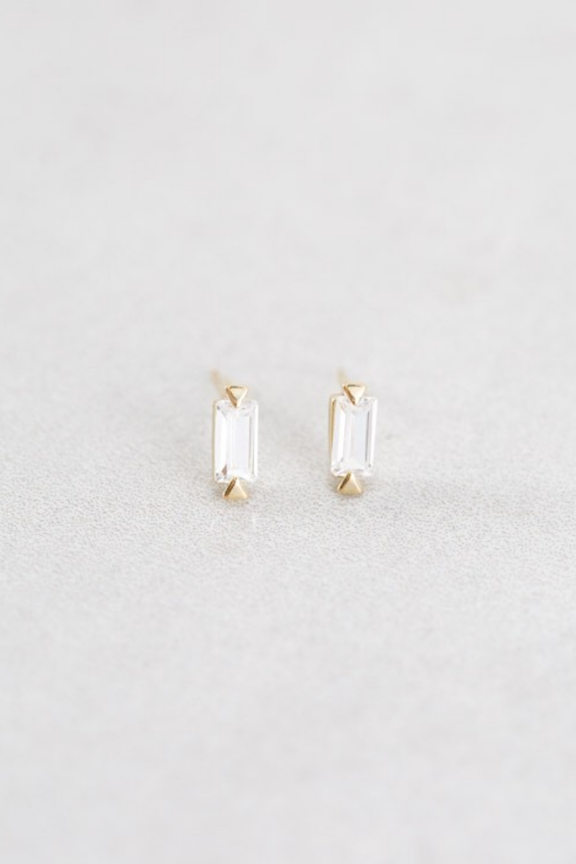 14K Dainty Clear Gem Earrings