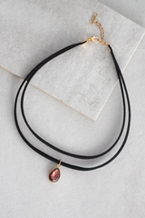 Stone & Suede Choker Necklace
