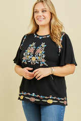 Embroidered Detail Boho Top