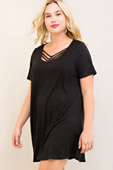 Crisscross Detail T-shirt Dress