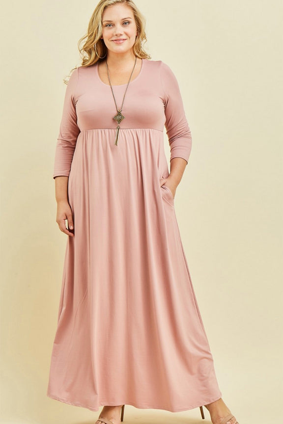 Mauve Pink Pocketed Maxi Dress