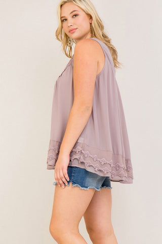Crochet Detail Scoop Neck Tank Top
