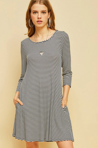 Open Back Navy Striped Shift Dress
