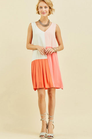 Partially Pleated Color Block Dress
