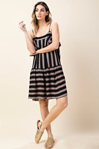 Striped Ruffled Cami Dress