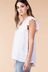 Smocked Shoulder Frilled Top