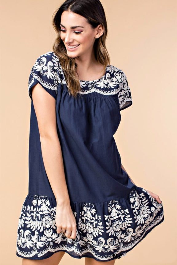 Navy Embroidered Ruffle Dress