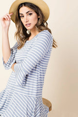 Blue Ruffled Jersey Top