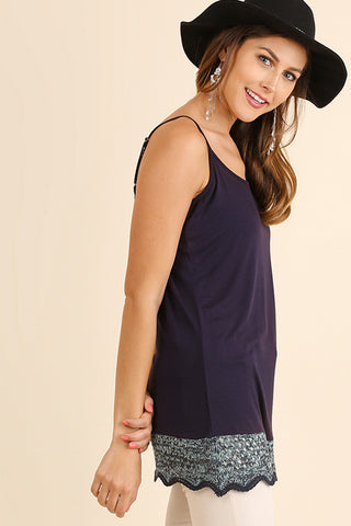 Crochet Hem Soft Tunic Tank - 2 Colors
