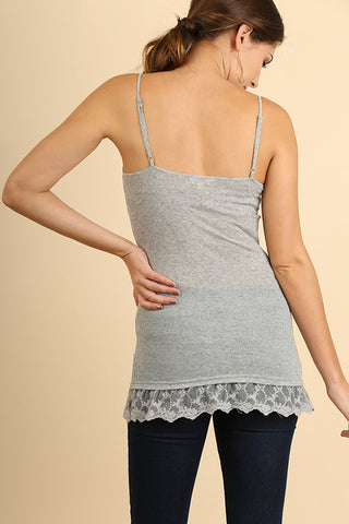 Gray Cami with Floral Lace Hemline