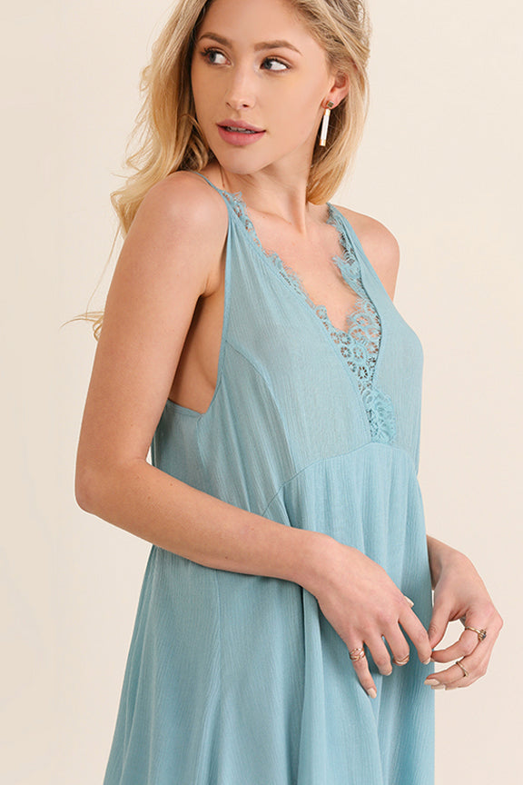 Light Blue Lace Baby Doll Dress