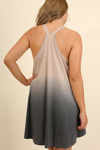 Latte Dip Dyed Racerback Dress