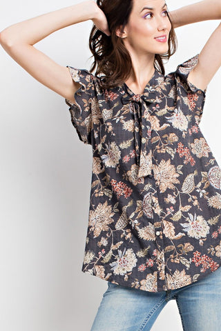 Ruffled Vintage Floral Button Down
