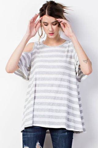 Striped Ribbed Cold Shoulder Top