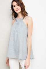 Washed Linen Halter Tank - 2 Colors