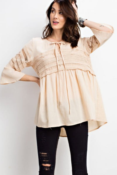 Natural Crochet Babydoll Tunic
