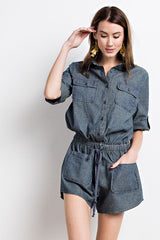 Washed Denim Romper