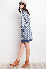 Striped Slub Knit Long Cardigan